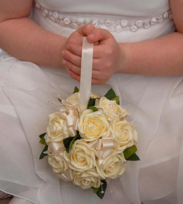 Cream Foam Rose, Satin Ribbon & Crystal Flower Girls Pomander