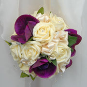 Purple Silk Orchid, Cream Rose & Crystal Flower Girls Pomander