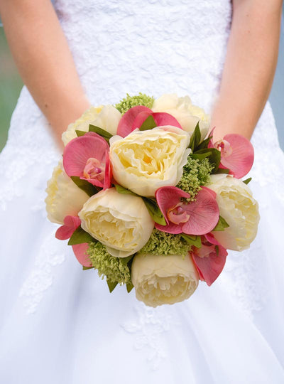 Brides Ivory Silk Peony & Pink Orchid Wedding Posy Bouquet