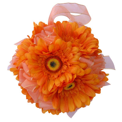 Orange Silk Gerbera Flower Girl Pomander Wedding Ball