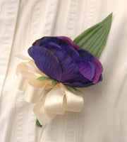 Purple Silk Anemone & Ivory Satin Bow Wedding Guest Buttonhole