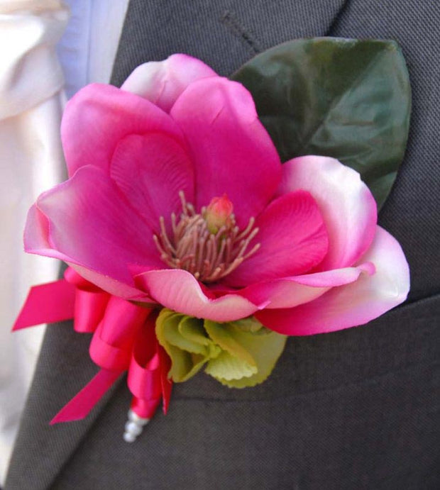 Grooms Pink Silk Magnolia & Green Hydrangea Wedding Buttonhole