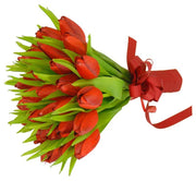 Brides Red Silk Tulip & Green Leaf Wedding Posy Bouquet