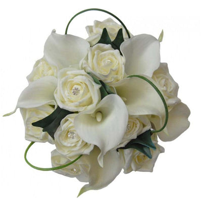 Bridesmaids Ivory Diamantie Rose & Calla Lily Wedding Bouquet
