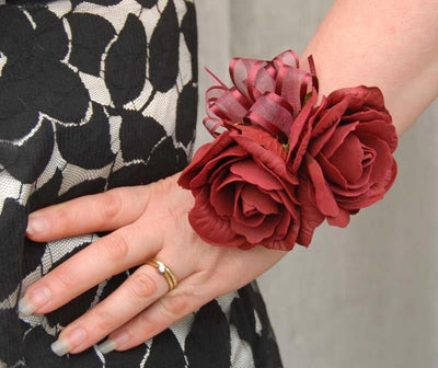 Double Burgundy Foam Rose Wedding Day Wrist Corsage