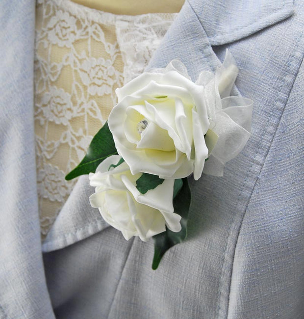 Double Ivory Diamante Rose & Organza Bow Pin Corsage