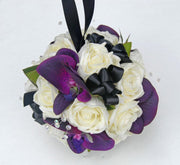 Purple Orchid, Ivory Rose, Black Bow & Crystal Wedding Pomander