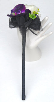 Purple Silk Orchid & Ivory Rose Black Ribbon Flower Girl Wand