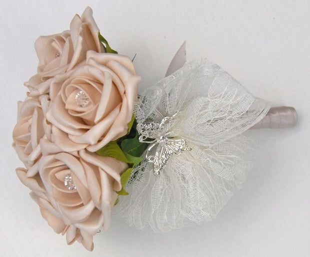 Flower Girls Mocha Wedding Posy Bouquet with Diamantes & Silver Butterfly