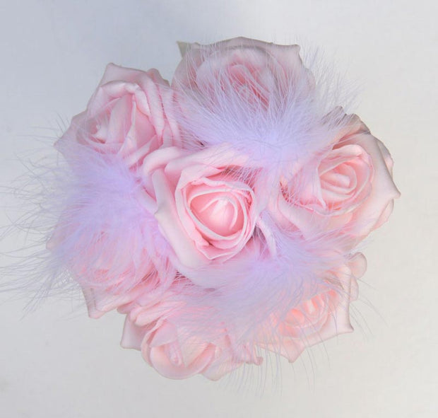 Flower Girls Light Pink Foam Rose & Feather Wedding Posy