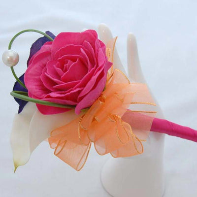 Purple Silk Anemone, Ivory Lily & Pink Rose Flower Girl Wand