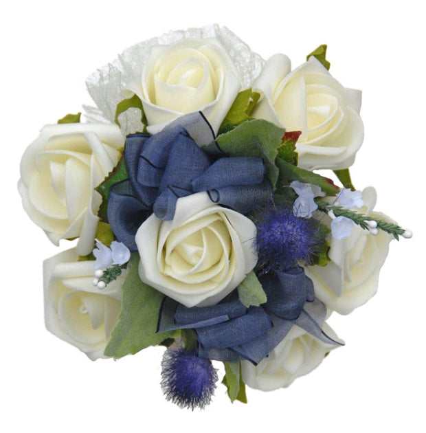 Ivory Rose, Heather  & Blue Thistle Flower Girl Wedding Posy