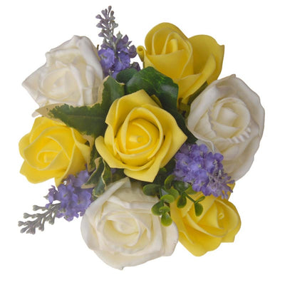 Yellow, Ivory Rose & Lilac Silk Lavender Flower Girls Wedding Posy
