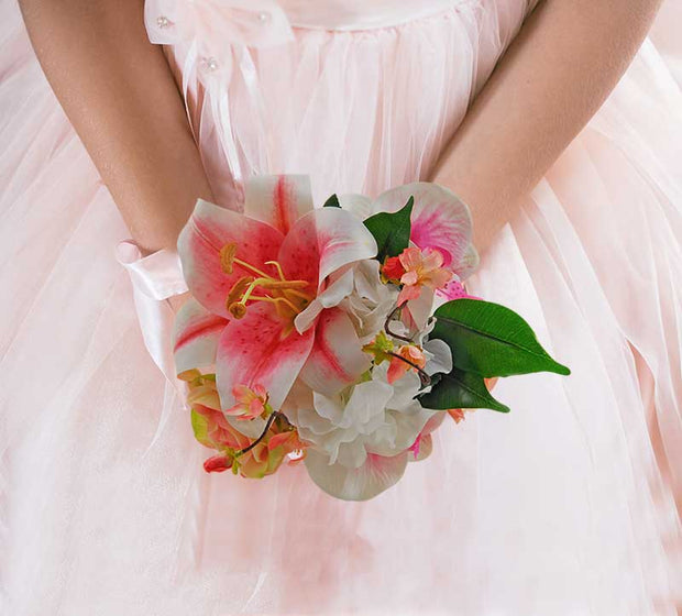 Brides Pink Silk Tiger Lily, Orchid, Cherry Blossom & Rose Wedding Shower