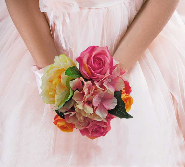 Brides Silk Pink Rose, Hydrangea, Lemon Peony & Orange Rose Wedding Bouquet