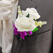 Grooms Double Ivory Rose & Silk Lavender Wedding Buttonhole