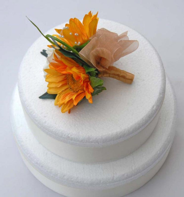 Double Golden Silk Sunflower & Ivory Rose Wedding Cake Spray