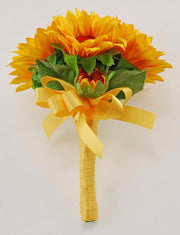 Golden Yellow Silk Sunflower Childrens Wedding Posy