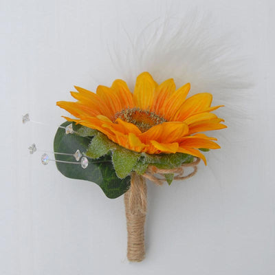 Grooms Golden Sunflower, Crystal & Feather Twine Stem Wedding Buttonhole