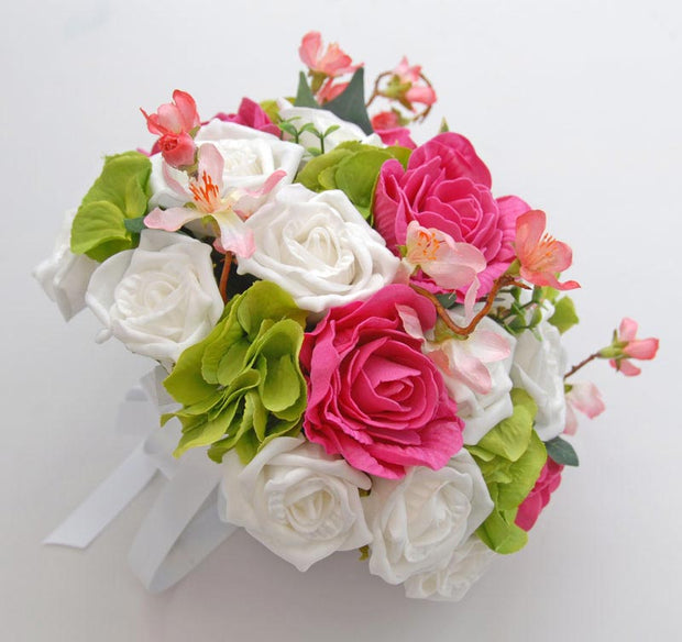 Green Hydranga, Pink & White Rose & Cherry Blossom Bridal Bouquet