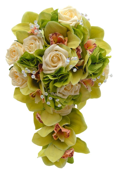 Bridesmaids Green Orchid, Hydrangea, Cream Rose & Crystal Wedding Shower