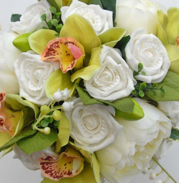 Bridesmaids Green Orchid, Ivory Peony & Rose Wedding Bouquet