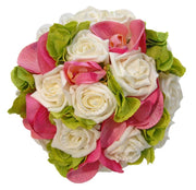 Bridesmaids Green Silk Hydranga, Pink Orchid & Ivory Rose Wedding Posy