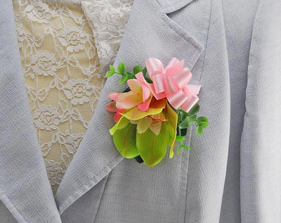 Green Orchid & Pink Silk Freesia Wedding Pin Corsage