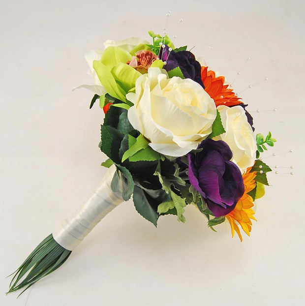 Brides Green Silk Orchid, Purple Anemone & Orange Sunflower Wedding Bouquet