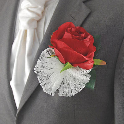 Grooms Large Silk Red Rose Wedding Buttonhole with Lace Bow