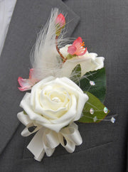 Grooms Ivory Rose, Cherry Blossom &Feather Wedding Buttonhole