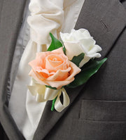 Grooms Peach & Ivory Foam Rose Satin Bow Wedding Day Buttonhole