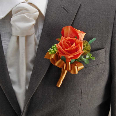 Grooms Double Rose, Thistle, Gypsophila & Eucalyptus Wedding Buttonhole