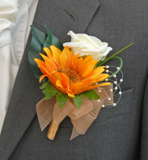 Brides Golden Silk Sunflower, Pearl & Ivory Rose Wedding Bouquet