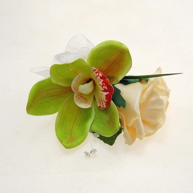 Grooms Green Silk Orchid, Cream Rose & Crystal Wedding Buttonhole