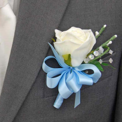 Grooms Ivory Rose, Crystal & Heather Buttonhole with Blue Satin Ribbon