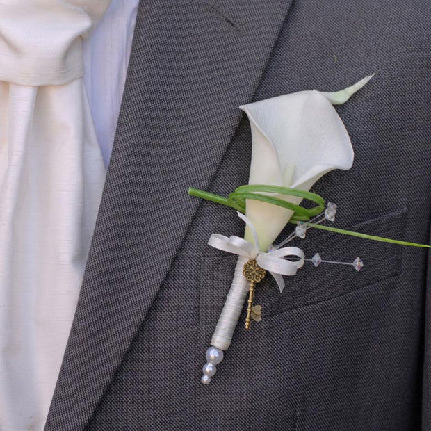 Grooms Ivory Calla Lily, Crystal & Vintage Key Wedding Buttonhole