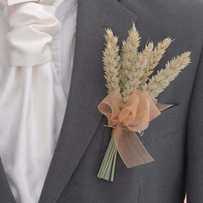 Grooms Natural Dried Wheat Wedding Buttonhole with Gold Organza Ribbon