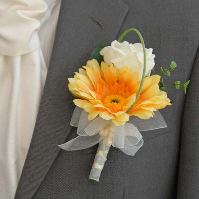 Grooms Orange Silk Gerbera & Ivory Rose Wedding Buttonhole