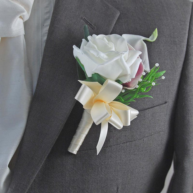 Grooms Purple Calla Lily, Ivory Rose & Rosemary Wedding Buttonhole
