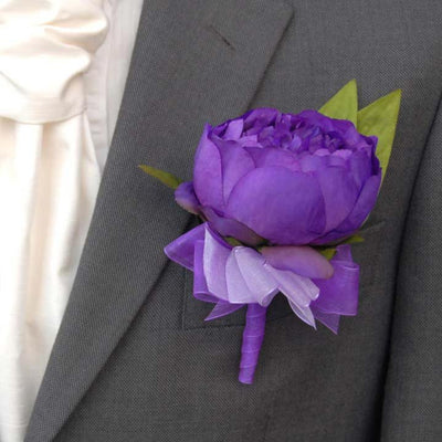 Grooms Purple Silk Peony, Organza Purple & Lilac Ribbon Buttonhole