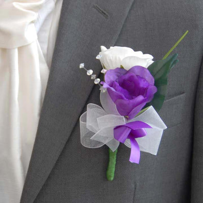 Grooms Purple Lisianthus & White Rose Crystal Wedding Buttonhole