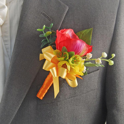 Grooms Red Silk Anemone Yellow Buttercup Wedding Buttonhole
