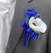 Brides Royal Blue Rose, Silk Anemone & Veronica Wedding Bouquet