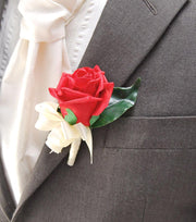 Grooms Single Artificial Red Rose Wedding Day Buttonhole