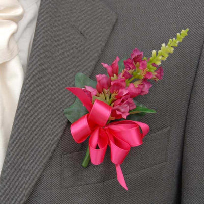 Grooms Pink Silk Physostegia & Cerise Satin Bow Wedding Buttonhole