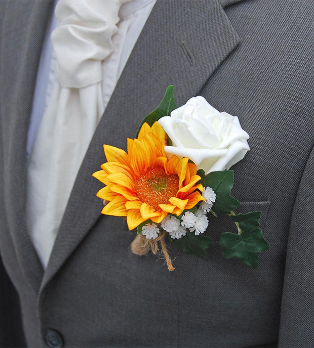 Grooms Golden Sunflower, Ivory Rose & Gypsophila Wedding Buttonhole