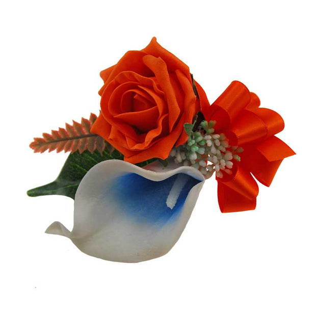 Grooms Calla lily, Orange Rose, Fern Wedding Buttonhole