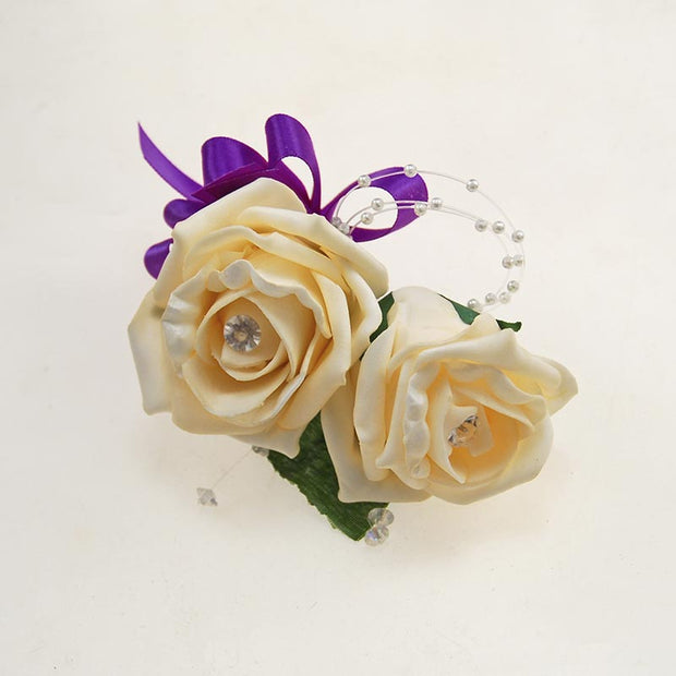Grooms Double Cream Diamante Rose Crystal & Pearl Buttonhole