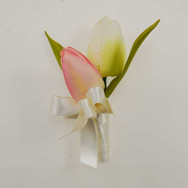 Grooms Double Pink & Ivory Silk Tulip Wedding Buttonhole